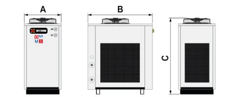 A CHWT 162 – CHWT 372 hűtőberendezések mérete